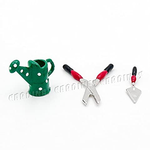 Odoria 1/12 Miniatur 3 Stück Gartengeräte Set - Weihnachten Still und Feengarten Deko Puppenhaus Zubehör Für Fee Garten