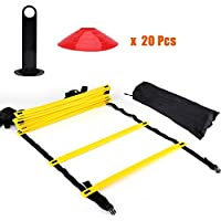 Kit de Entrenamiento Agilidad Velocidad - Escalera de Entrenamiento 12 Peldaños Ajustables + 20pcs Conos de Entrenamiento