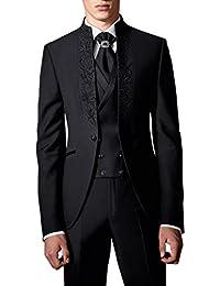 Suit Me Trajes de etiqueta 3 piezas traje de boda del bordado del partido de los hombres smoking trajes chaqueta, chaleco, pantalones HN112
