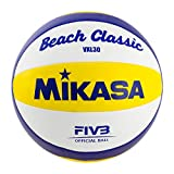 MIKASA 1623 Beach Classic VXL 30 - Pelota de Volley Playa (tamaño 5), Color Blanco, Azul y Amarillo