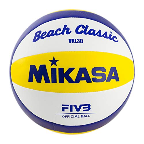 MIKASA Beach Classic Ballon 30 vXL Blanc/Bleu/Jaune Calibre 5 1623