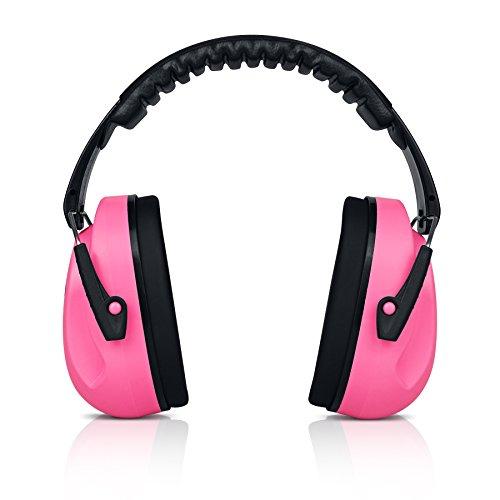 heartek Kinder Ohrenschützer Gehörschutz mit Reise Bag Junior Gehörschutz für Kinder, gepolsterte Ohr Schutz, kleine Erwachsene, Frauen–verstellbare Displayschutzfolie Noise Reduction Ohrenschützer, Sammy, Bubble Pink