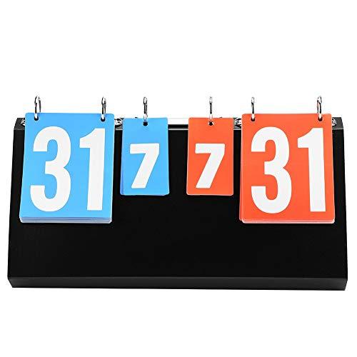 SolUptanisu Tisch Anzeigetafel 4-stellige Sport Wettbewerb Anzeigetafel Score Flipper Flip-Tisch Scoring Board Zähltafel für Tischtennis Basketball Badminton Volleyball