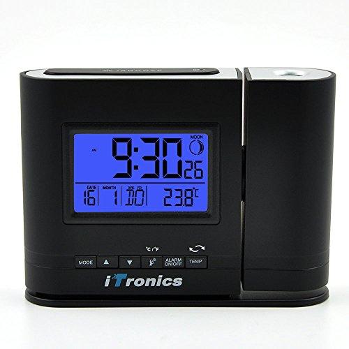 iTronics IR305BB Projektionswecker / Digital Tischuhr / Funkuhr mit Bewegungssensor und Temperaturanzeige