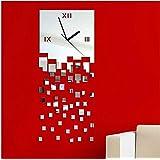 DU&HL Moderna de bricolaje grande del reloj de pared reloj grande de la etiqueta 3D Pegatinas mudo del reloj de pared del Ministerio del Interior desmontable Decoración-plata (batería no incluida)