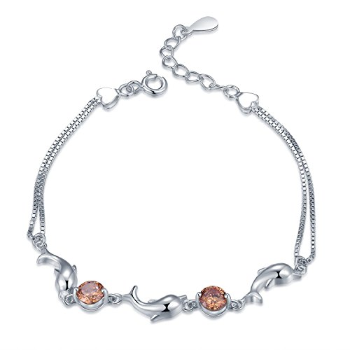 925Sterling Silber Champagner CZ Dolphin Double Box Kette Armband (15,2cm) Frauen Schmuck Geschenk (Tiffany Armband Box)