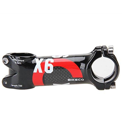 Domybest bikeco Lenker mit 3K Karbonfaser Ultralight Vorbau (Rot) (100mm) (100 Mm Vorbau)