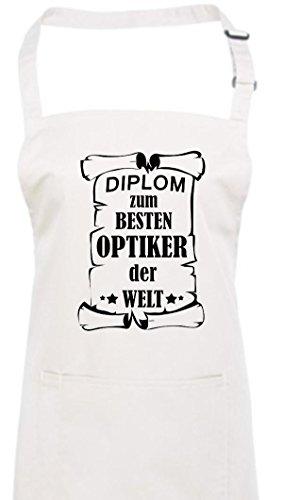 Tablier, diplôme au meilleur Opticiens le monde, Coton mélangé, weiss, 72 cm x 86 cm