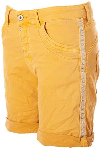 Basic.de Damen Bermuda-Shorts mit Metall-Nieten Melly & CO 6016 Messing XS Damen Metall