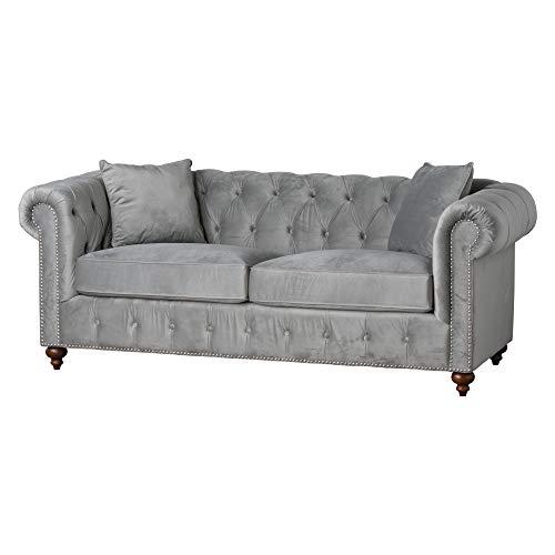 Grigio velluto chesterfield-divano a tre posti