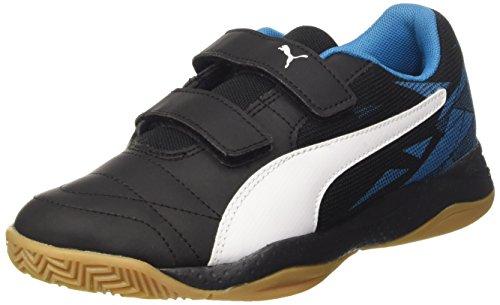 Puma Veloz Indoor Iii V Jr, Scarpe da Calcio Unisex – Bambini Nero (Puma Black-puma White-blue Danube 04)