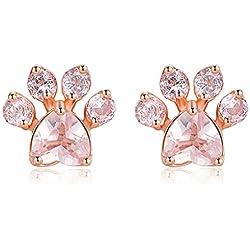 T.Hoow - Pendientes de oro rosa bañados en circonio de cristal, diseño de huellas de pie