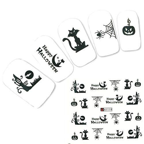 JUSTFOX - Tattoo Nail Halloween Spinne Katze Aufkleber Nagel Sticker Nägel Water Decal