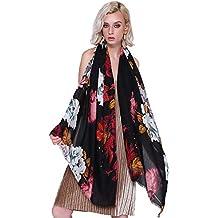 601135fc565 Melodycp Foulard en Coton Fleuri Vintage pour Femme (Couleur   Noir)