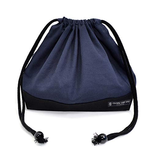 Drawstring Gokigen lunch (medium size) with gusset lunch bag deep navy x Ox black made in Japan N3467700 (japan import)