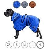 Accappatoio per cani Bella & Balu (XL-Blu) - Accappatoio microfibra cane con cappuccio e cinta regolabile per asciugare il cane dopo il bagno, al mare o dopo la pioggia