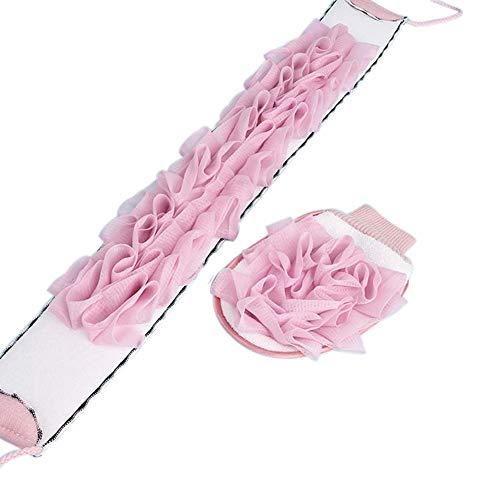 Peeling Loofah Kit Doppelseitiger Rückenwäscher und Duschhandschuhe, Rosa