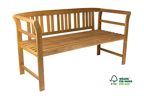 SAM 2-Sitzer Gartenbank Samos, Akazien-Holz geölt, FSC 100% zertifiziert, Holzbank, massives Garten- & Balkonmöbel