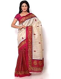 Krishnam Fashion Bhagalpuri Cotton Silk Saree (6.3 Metre Inculding Blouse Fabri, Pack Of 1)