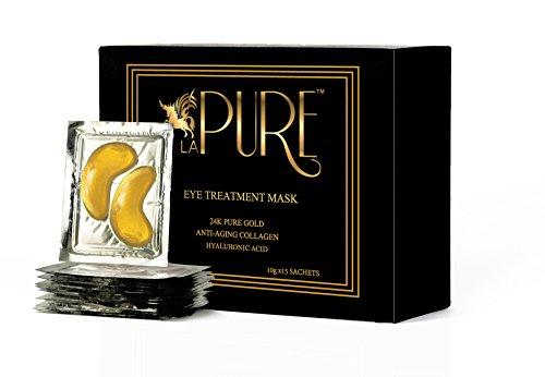 Geschwollene Tränensäcke Unter Den Augen ((15 Stück) LA PURE Luxus Kristall 24K-Gold Puder Gel Kollagen Augenmaske, Premium Anti-Aging, Anti Falten Produkt mit Hyaluronsäure, Kollagen, Feuchtigkeitspflege bei Fältchen unter den Augen, entfern)