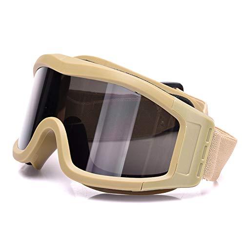 Hhpcspc Desert Windproof, Anti-Fog und Sandproof Cs Tactical Paintball Shooting Glasses Locust Goggles (Color : Beige)