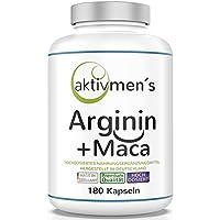 Preisvergleich für aktivmen´s Arginin + Maca - HOCHDOSIERT - L-Arginin Base 3600 plus Maca Wurzel Extrakt 20:1 (Maca 6000) 100% VEGAN...