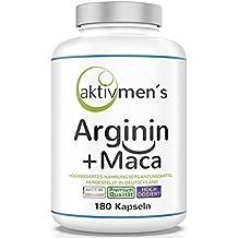 aktivmen´s Arginin + Maca • HOCHDOSIERT • L-Arginin Base 3600 plus Maca Wurzel Extrakt 20:1 (Maca 6000) 100% VEGAN + ohne Magnesiumstearat • 180 Kapseln, 1 Dose (1 x 140 g) hergestellt in Deutschland