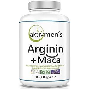 aktivmen´s Arginin + Maca hochdosiert – für stark aktive Männer, von Experten* geprüft – 100% vegan, 180 Kapseln, L-Arginin Base 3600 + Maca 6000 (Maca Wurzel Extrakt 20:1) 1 Dose (1 x 140 g)
