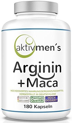 aktivmen´s Arginin + Maca hochdosiert - für stark aktive Männer, von Experten* geprüft - 100% vegan, 180 Kapseln, L-Arginin Base 3600 + Maca 6000 (Maca Wurzel Extrakt 20:1) 1 Dose (1 x 140 g) -