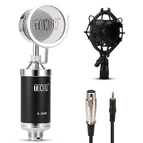 Tonor TS-99 Professionell Studio Rundfunk & Aufnahme Kondensator-Mikrofon Set Schall Podcast Studio Microphone für PC Laptop Computer Schwarz