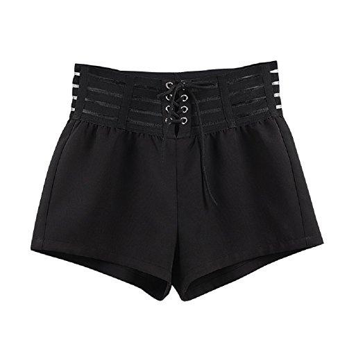 FuweiEncore Pantalones Cortos de Mujer de Alta Cintura Skinny Mini Pantalones de Ocio Sexy con Cuerda (Color : Negro, Tamaño...