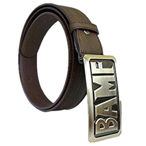 POMUTRE Hombre Cinturones Cosplay Mccree Accesorio Para Cinturón Cowboy Brown Cuero de PU con hebilla BAMF