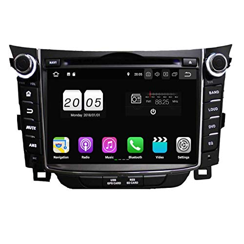 8.1 OS Autoradio für Hyundai I30/Elantra GT 2011 2012 2013 2014 2015 2016,DAB+ Radio kapazitiver Touchscreen mit Quad Core 1.5G CPU 16G Flash und 2G DDR3 RAM GPS Navi Radio ()
