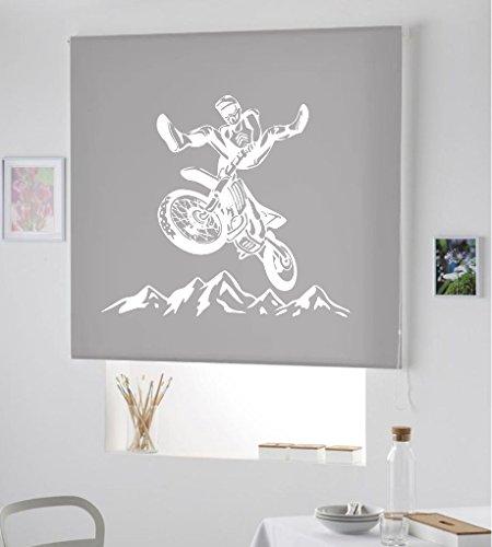 ESTORES para Habitaciones Juveniles DE Motocross- ESTORES ENROLLABLES TRANSLUCIDOS DE Motos- Nuevo Estor Enrollable TRANSLUCIDO- / PERSIANA Estor Motos, Club Motos (Gris, 140X175)