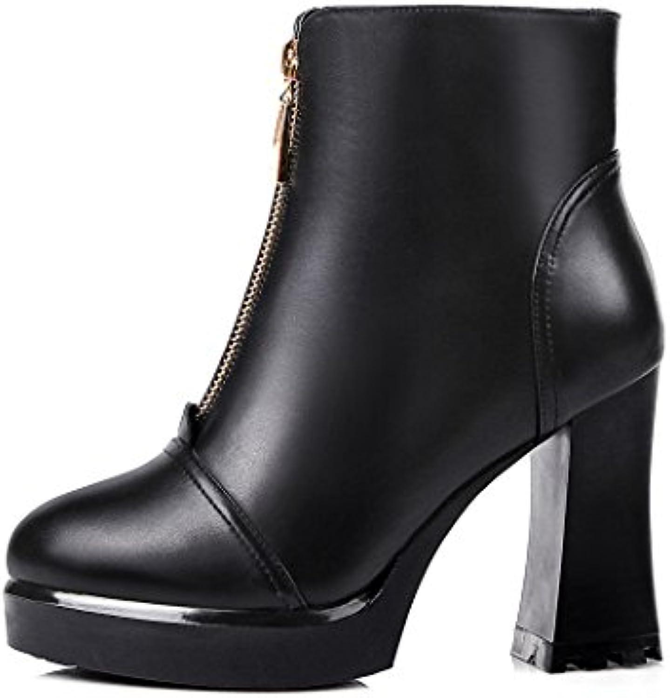 ZQ@QXregalo di Natale Europa stivali in pelle formato zip anteriore tacco alto stivali,nero,40 | Design affascinante  | Scolaro/Ragazze Scarpa