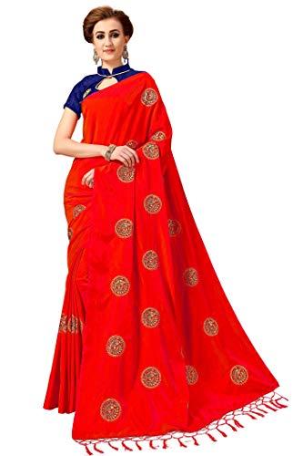 Nivah Fashion K803 Damen Seide bestickt Saree mit Bluse Gr. One size, rot Seide Saree