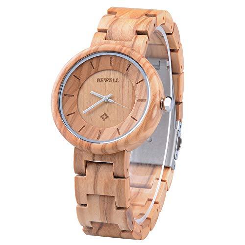 bewell orologio legno donna analogico al quarzo con cinturino in legno tondo elegante (oro)