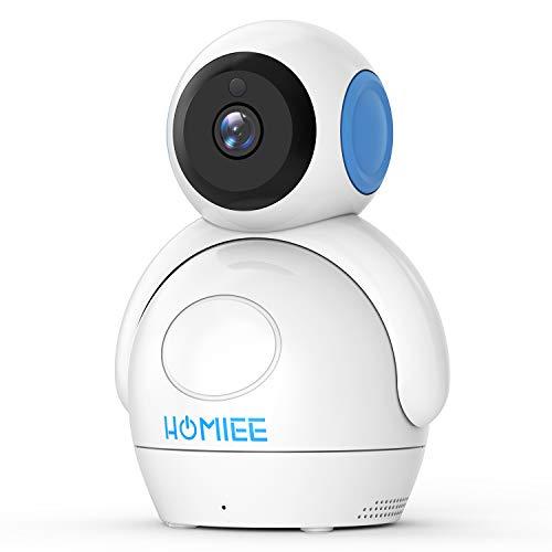 Video Babyphone,HOMIEE Babyphone 360 °Baby Kamera,ÜberwachungsKamera 720P 2,4G Wireless Verbindung 300m,Unterstützen Sie einen Monitor um vier Kameras gleichzeitig anzuschließen.Upgraded Kamera