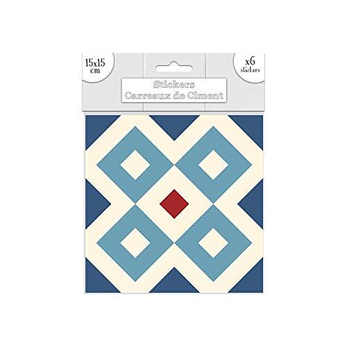 STC Lot DE 6 Stickers Carreaux de Ciment – Bleu Motif A