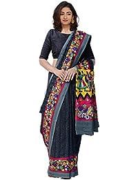 Unnati Silks Women Black Ikat Printed Pochampally Kalamkari Art Silk Saree(UNM23823)