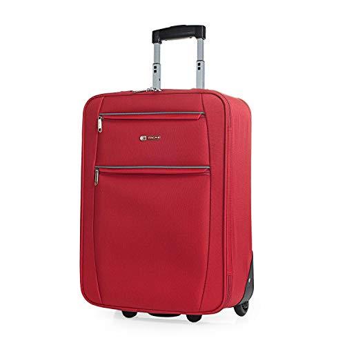 ITACA - Maleta Cabina de Viaje 2 Ruedas Trolley 55 cm de Poliéster EVA. Equipaje de Mano. Pequeña Semirígida Resistente Cómoda y Ligera. Blanda. Calidad T71950, Color Rojo