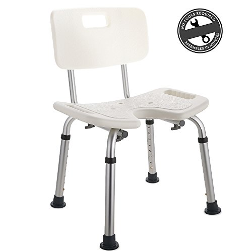 Modrine Medical Höhenverstellbar 39 - 56cm Duschhocker Badsitz Anti-Rutsch Duschstuhl Duschhilfe mit Rückenlehne aus Alu und Kunststoff