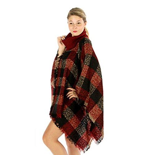 Poncho en Laine Femme Col Roulé Mélange de Laine Tricot Tartan Blanket Châle Chaud Vintage Epaisse Etole Echarpe Pashmina Hiver - BienBien Rouge