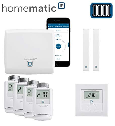 Homematic IP FUNK Smart Home Heizungssteuerung Komplettpaket für 4 Heizkörper mit kostenloser Smartphone App. Inhalt: Zentrale, 4 Heizkörperthermostate, 2 Tür-Fensterkontakte, 1 Wandthermostat.