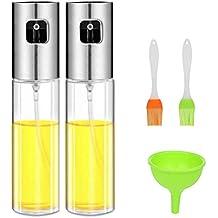 Cozywind 2pcs Pulverizador Aceite,Aceitera de Cocina,100 ml Botella de Aceite de Vidrio