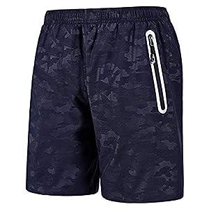 CHYU Sporthose Kurz Herren Soft Comfort Schnelltrocknend mit Reißverschlusstasche Sport Shorts Jogginghos