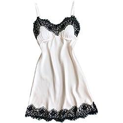 MORCHAN❤️Femmes Lingerie Sexy Dentelle Lingerie De Nuit sous-vêtements Robe Babydoll Robe De Nuit(XL,Blanc)