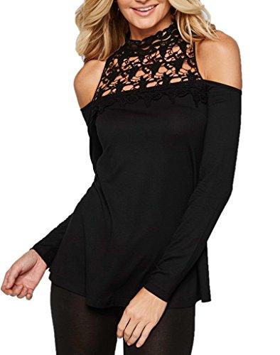 Bigood Femme T-shirt Chiffon Haute Col Blouse Dentelle Chemise Slim Uni Noir