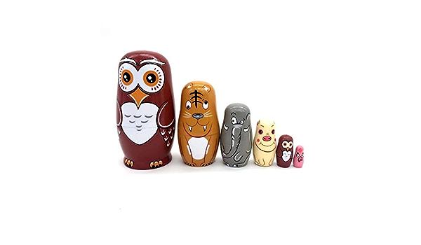 ULTNICE Holz Eule Russische Puppen 10 Schichten Matroschka Russische Tier Nistpuppe Stapel Puppen f/ür Geburtstag Weihnachten Neujahr Geschenk Hauptdekoration