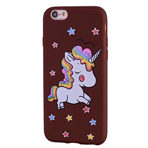 Cover iPhone 6/6s Plus DECHYI unicorno Custodia Matte Scintillante modello di Star Glitter Custodia.-Rosa rossa-02 marrone-02
